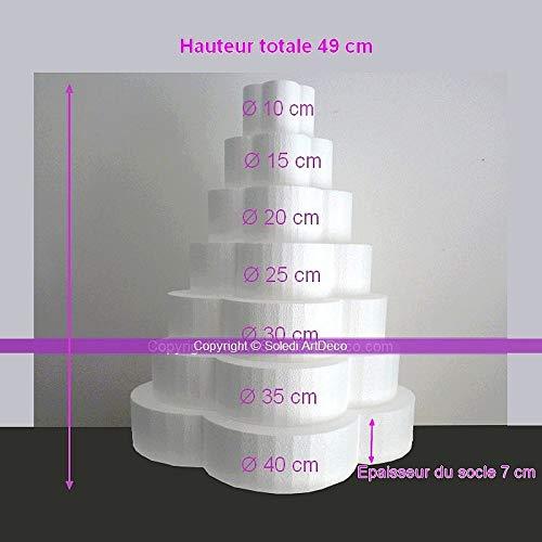 Lealoo bloempot van polystyreen, hoogte 49 cm, houder 7 etages, sokkel 40 cm diameter
