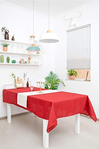 WOMGF Mantel Antimanchas Rectangular Mantel para Mesa de Cocina o Salón Lavable Diseño de Comedor Decoración del Hogar 40x130cm Rojo