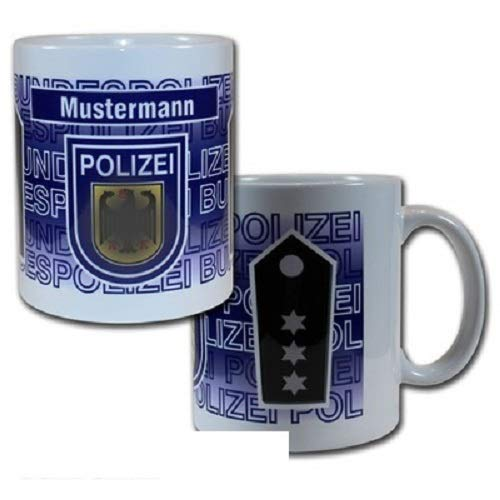 Dienstgrad Tasse Bundespolizei mit wählbarem Namensfeld 95x110mm (Polizeipräsident/in #B26)
