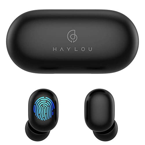 True Wireless Earbuds,Haylou GT1 Bluetooth 5.0 Sports HD Stereo Touch Control Ear Buds with IPX5/Fast Connection/Mini Case(Only 30g)/Total 12H Playtime (Black)