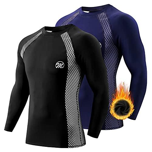 MEETWEE Maglia Termica Uomo, Maglia a Manica Lunga Compression Maglietta Biancheria Intima Sport T-Shirt Baselayer da Corsa Ciclismo Fitness