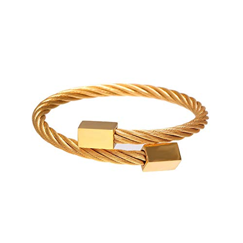 1 unid hombres brazaletes retro acero inoxidable enredado pulseras cubo estiramiento diseño hombres accesorios oro