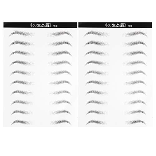 Minkissy 20 Paare 6D Haarähnliche Authentische Augenbrauen Wasserdichte Augenbrauen Tattoo Aufkleber Augenbrauentransfers für Frau Mann (Gebogene Augenbraue)