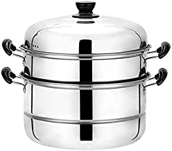Beeiee 3 Tier Stainless Steel 11.2-Inch Diameter Steamer Cookware Pot Saucepot Multi-layer Boiler