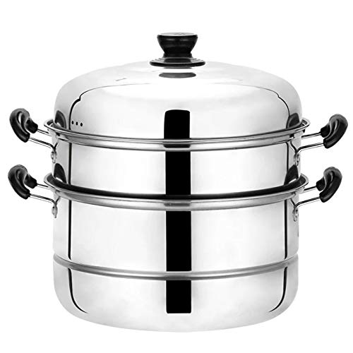 Beeiee Steaming Cookware, Steamer Pot, Multi-layer Boiler, 10Qt 11 Inch 3 Tier Stainless Steel Steamer, work with Gas, Electric, Grill Stove Top, Dishwasher Safe