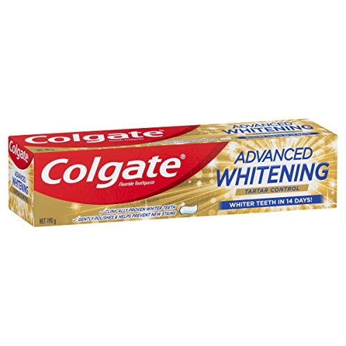 COLGATE Advanced Whitening Tartar Control Toothpaste with Microcleansing Crystals Whiter Teeth in 14 Days, 190 g