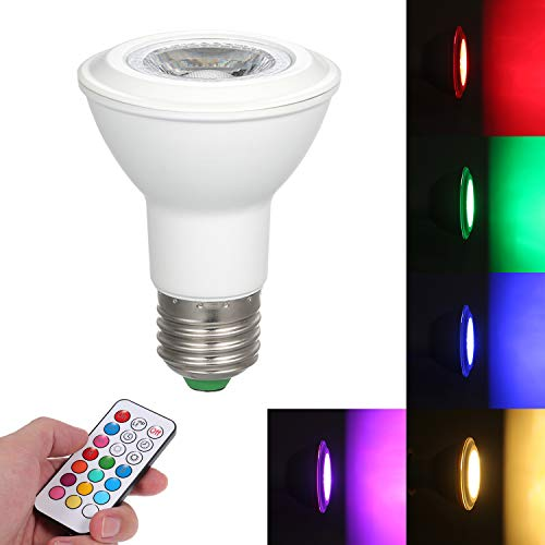 Lixada LED kleur veranderende lamp met afstandsbediening E27 sokkelhouder met geheugenfunctie/dimbare helderheid instelbaar/diverse lichteffect/kleurverandering draagbaar