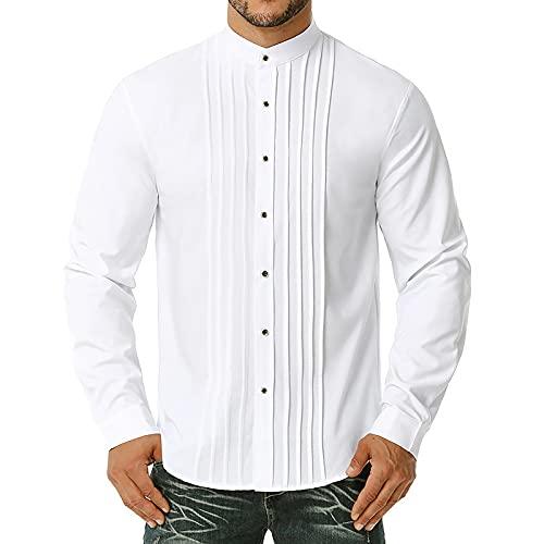 LSSM OtoñO / Invierno Camisa De Manga Larga Para Hombre Color SóLido Slim Fit DiseñO Plisado Cuello Alto...