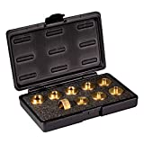 POWERTEC 71051 Router Template Guide Set | 10pc Solid Brass Guides w/Molded Carrying Case
