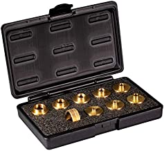 POWERTEC 71051 Router Template Guide Set   10pc Solid Brass Guides w/Molded Carrying Case