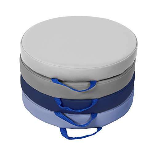 SoftScape 15 inch Round Floor Cushions with Handles; Flexible Seating for in-Home Distance Learning, Daycare, Preschool, Classroom; 2 inch Thick Deluxe Foam (4-Piece) - Navy/Powder Blue