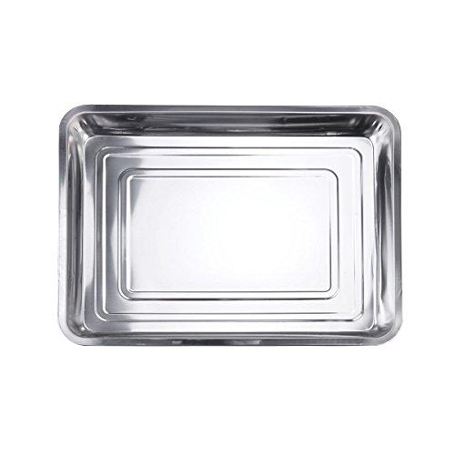 BESTOMZ BBQ Grillplatte Grillschale Edelstahl 45x35x4.8cm