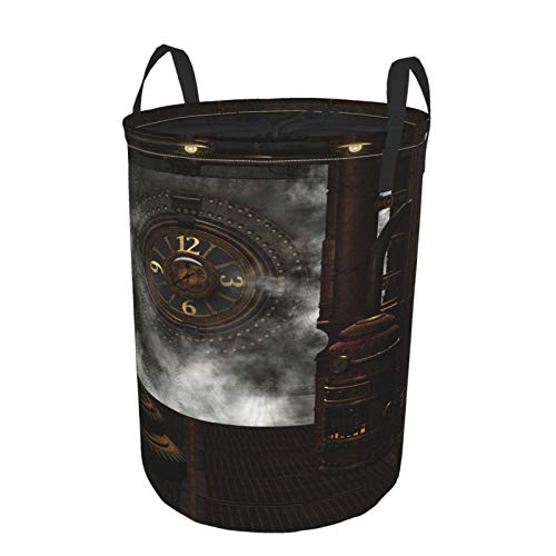 """Large Round Storage Basket with Handles,Steampunk Background Misc Metal Gadgets Gears and Clocks Plus A Bit of Steam,Waterproof Coating Organizer Bin Laundry Hamper for Nursery Clothes Toys 19""""x 14"""""""