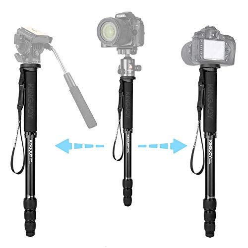 "Aluminum Travel Monopod MP308 4 Section 64.5""/164cm Video Camera Monopod Walking Stick with 1/4""-3/8"" Convertible Screw for DSLR Camera Camcorder Ballhead Max Load 44.1lbs"