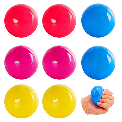 Herefun 8 Pièces Balles Jouets Décompression, 4 Couleur Balle Anti-Stress, Boule Murale Collante Fluorescente pour Adultes Enfants Jeu de Capture, Jonglage de Dodgeball (Couleur1)