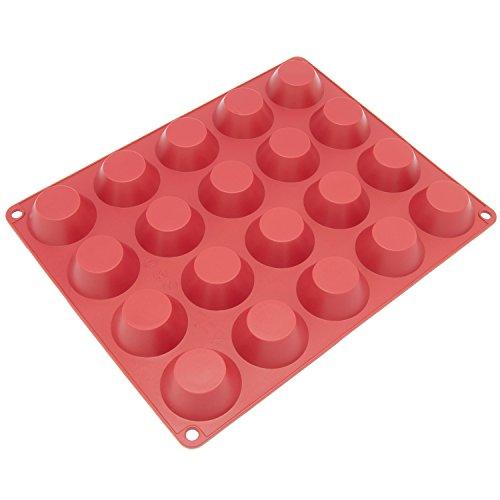 Freshware Mini molde de silicone com 20 cavidades para torta caseira, quiche, pastelaria, bolo, torta, pudim, gelatina e mais