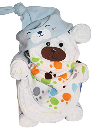 Windelgeschenk/Windeltorte/Windelbär mit Beanie + Dreieckstuch Junge Baby -> Windelgeschenk Junge -> tolles WINDELGESCHENK zur Geburt -> babyshower geschenk (blau Gr. 2)