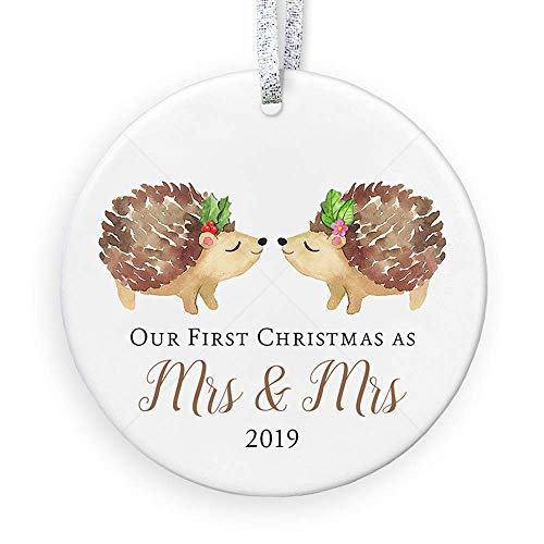 Lesbian Marriage Wedding Gifts for Couple Mrs Mrs First Christmas Ornament 2019 Same Sex Gay Couple Bridal Shower Gift - 3' Flat Circle Ceramic Ornament, Gold & Silver Ribbon + Free Gift Box