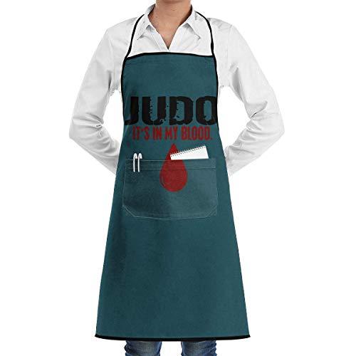 El Judo Está En Mi Sangre Delantal con Babero,Delantal De Hombre,Delantal De Bolsillo,Delantal De Camarera,Baberos De Cocina