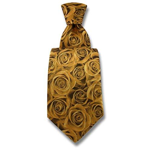 Robert Charles. Cravate. Fleur de rose, Soie. Bronze, Fantaisie. Fabriqué en Italie.