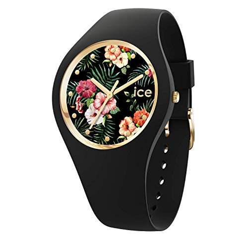 Ice-Watch - ICE flower Colonial - Schwarze Damenuhr mit Silikonarmband - 016671 (Medium)