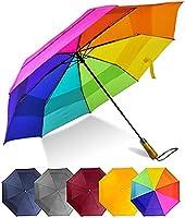 Ljuko屋外 防風 自動 パラソル 折りたたまれた ポータブル 透明傘 傘キャップ 旅行傘 ビーチパラソル 男性女性ブルー/グレー/イエロー/ワインレッド/レインボー-01.虹。