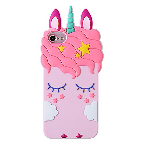 Liangxuer Pink Unicorn Case for iPhone 8/7/6/6S 4.7',Soft 3D Silicone Cute Animal Rubber Cover,Kawaii Cartoon Gel Girls Kids Cases.Fun Character Shockproof Protector Skin for iPhone8/7/6