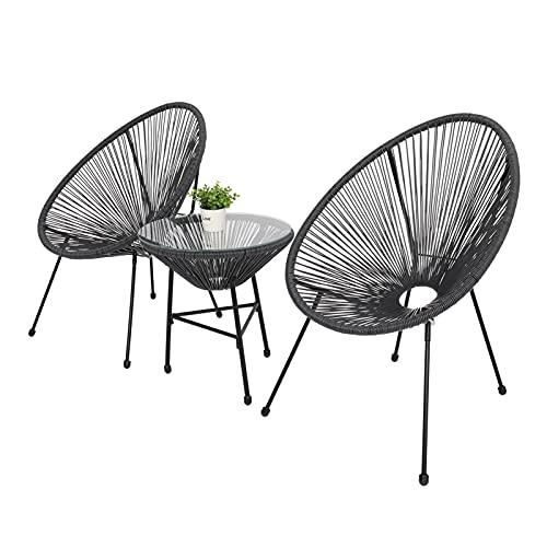 zis Conjunto de Muebles de bistró de 3 Piezas en Todo Clima de 3 Piezas con 2 sillas y Muebles de Exterior de la Mesa de Vidrio