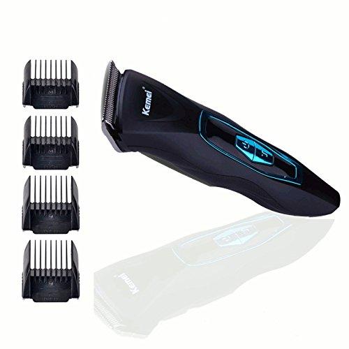 Kemei Profi Herren Haarschneider Set Haarschneidemaschine für Salon oder zu Hause Eletronische Haar Schneider Haartrimmer Haar mit 4 Kämmen,Akku- und Netzbetrieb Schwarz-blau