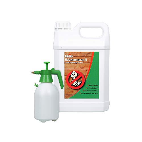 Envira Holzwurm-Spray - Holzwurm Ex Gegen Holzschädigende Insekten - Langzeitschutz & Wasserbasis - 5 Liter + Sprüher