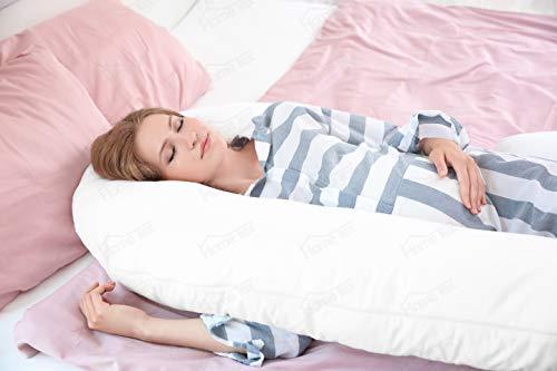 Hometex Oreiller de grossesse confortable en forme de U 2,7m Housse rose incluse