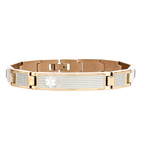 Learn More About AMERICAN MEDICAL ID – Lynx Shine Medical ID Alert Bracelet – Rose Gold Tone Ove...