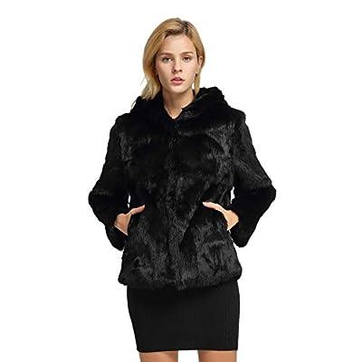 Women's Genuine Rabbit Fur Coat Warm Fur Jacket with Hood(6,Black) by
