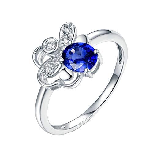 AnazoZ Anillo Zafiro Mujer,Anillo Mujer Oro Blanco 18K Compromiso Plata Azul Flor Hueca con Oval Zafiro Azul 0.55ct Diamante 0.07ct Talla 16