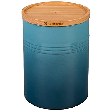 Le Creuset of America 5 1/2  Canister with Wood Lid, 2.5 Qt. (5.5  Diameter), Marine