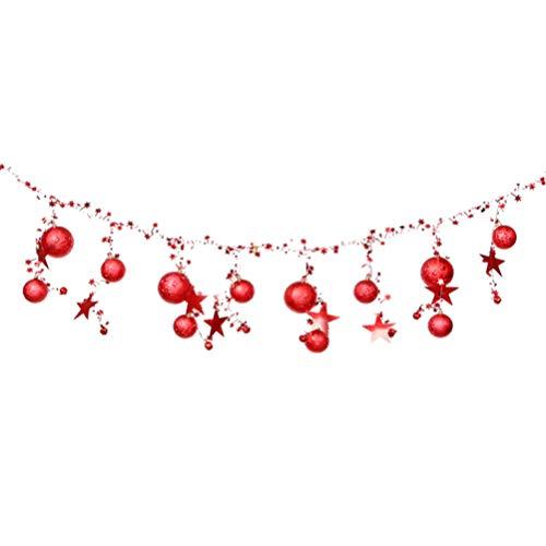Amosfun 2 m kerstbal slinger Kerstmis opknoping Banner voor vakantie partij Thuis plafond Decor kerstboom Ornament 2m Rood