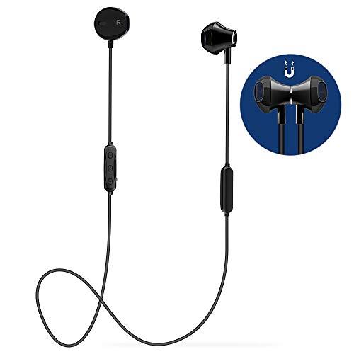 Cuffie Bluetooth Sport,Auricolari Bluetooth Magnetici Wireless di 6 a 8 ore con Micro,Progettazione Dell'equilibrio,per Fitness Running Correre Jogging/ Samsung LG Xiaomi Huawei, argento