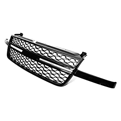IKON MOTORSPRTS, Grille Compatible With 2003-2006 Chevrolet Silverado 1500 2500 3500, Front Bumper Hood Mesh Grill Gloss Black, 2004 2005