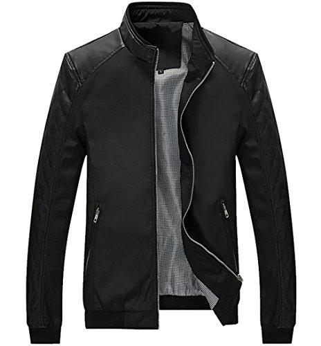 EOZY-Uomo Giacca PU Pelle Uomini Cappotto Capispalla Abbigliamento Jacket (Petto 102cm, Nero)