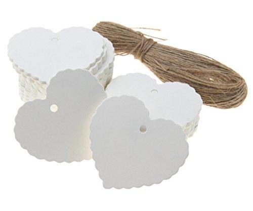 Preisvergleich Produktbild 100Stk Weiß Herz Anhänger Etiketten Geschenk Tags Geschenkanhänger