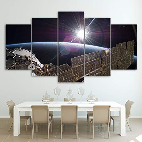 wangpdp Toile Mur Art Photos Décoration 5 Pieces Station Spatiale Internationale Lumière Blanche Paysage Paysage Peinture Posters
