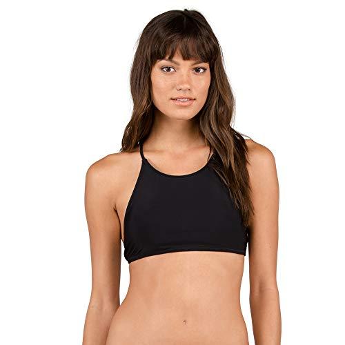Volcom womens Simply Solid Crop Bikini Top, Black, M standard