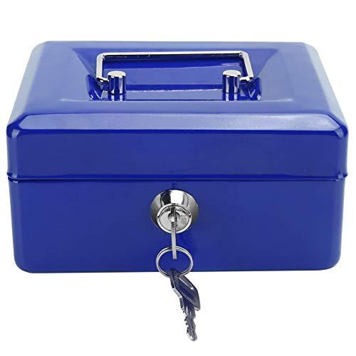 Caja de seguridad, Caja de seguridad con llave Caja de seguridad con cerradura Caja de almacenamiento de dinero Caja de efectivo, 6 pulgadas para el hogar(blue)