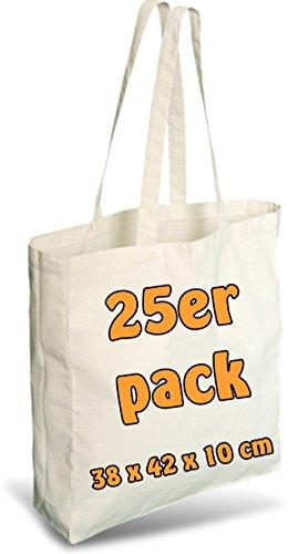 25unidades de bolsa de algodón y yute, con pliegue de páginas de dos asas largas, natural 38x 42x 10cm