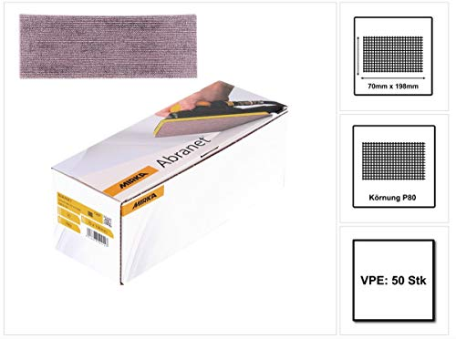 Mirka 5415005080 Abranet Grip P80, 70 x 198 mm, 50 Pro Pack