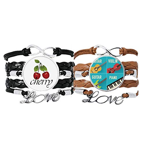 Bestchong Guitar Violin Piano Combination Pattern Bracelet Hand Strap Leather Rope Cherry Love Wristband Double Set