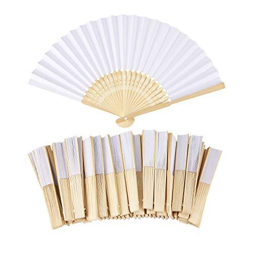 TOOGOO 50pzs /lote Blanco Abanico de mano papel elegante plegable Favores del...