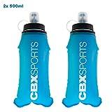 CBX Sports Bouteille Gourde Pliable 2X 500ml Bleu de Soft Flask pour Running, Trail, Course à Pied | Flasque Souple | Pas de Clapotis | Légère, Compacte et Facile à Tenir et à Remplir