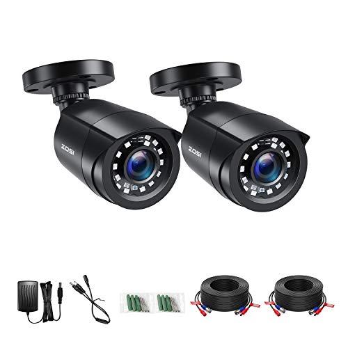 ZOSI 2pcs 1080P Cámara de Vigilancia Exterior para Kit de Videovigilancia DVR, 20m Visión Nocturna, 2 Pack Negro