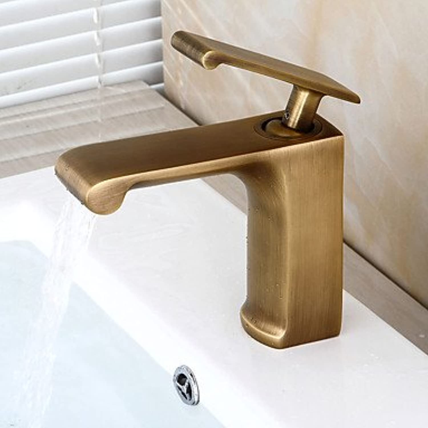 ZLL ?ìTraditional Centerset Ceramic Valve Single Handle One Hole with Antique Brass Bathroom Sink Faucet , 58 x 8 cm